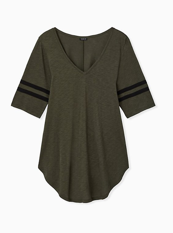 Plus Size Olive Green V-Neck Football Tunic Tee, , hi-res
