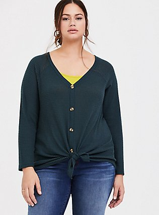 Dark Green Waffle Knit Button Front Long Sleeve Tee, GREEN GABLES, hi-res