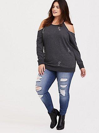 Charcoal Grey Distressed Cold Shoulder Sweatshirt, CHARCOAL HEATHER, alternate