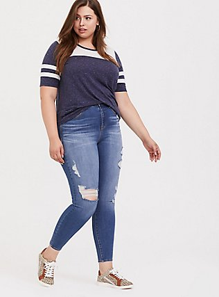Plus Size Navy & White Classic Fit Football Tee, PEACOAT, alternate