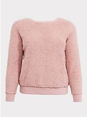 Blush Pink Faux Fur Teddy Pullover, DUSTY QUARTZ, hi-res
