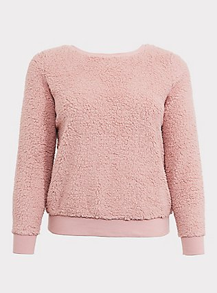 Blush Pink Faux Fur Teddy Pullover, DUSTY QUARTZ, flat