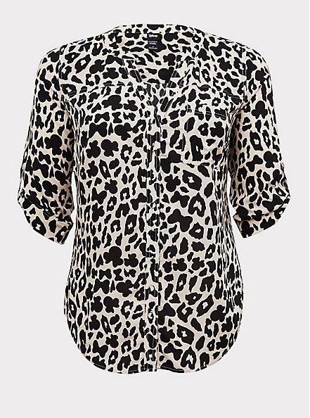 Disney Minnie Mouse & Leopard Challis Button Front Blouse , MULTI, hi-res