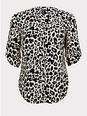 Disney Minnie Mouse & Leopard Challis Button Front Blouse , MULTI, hi-res