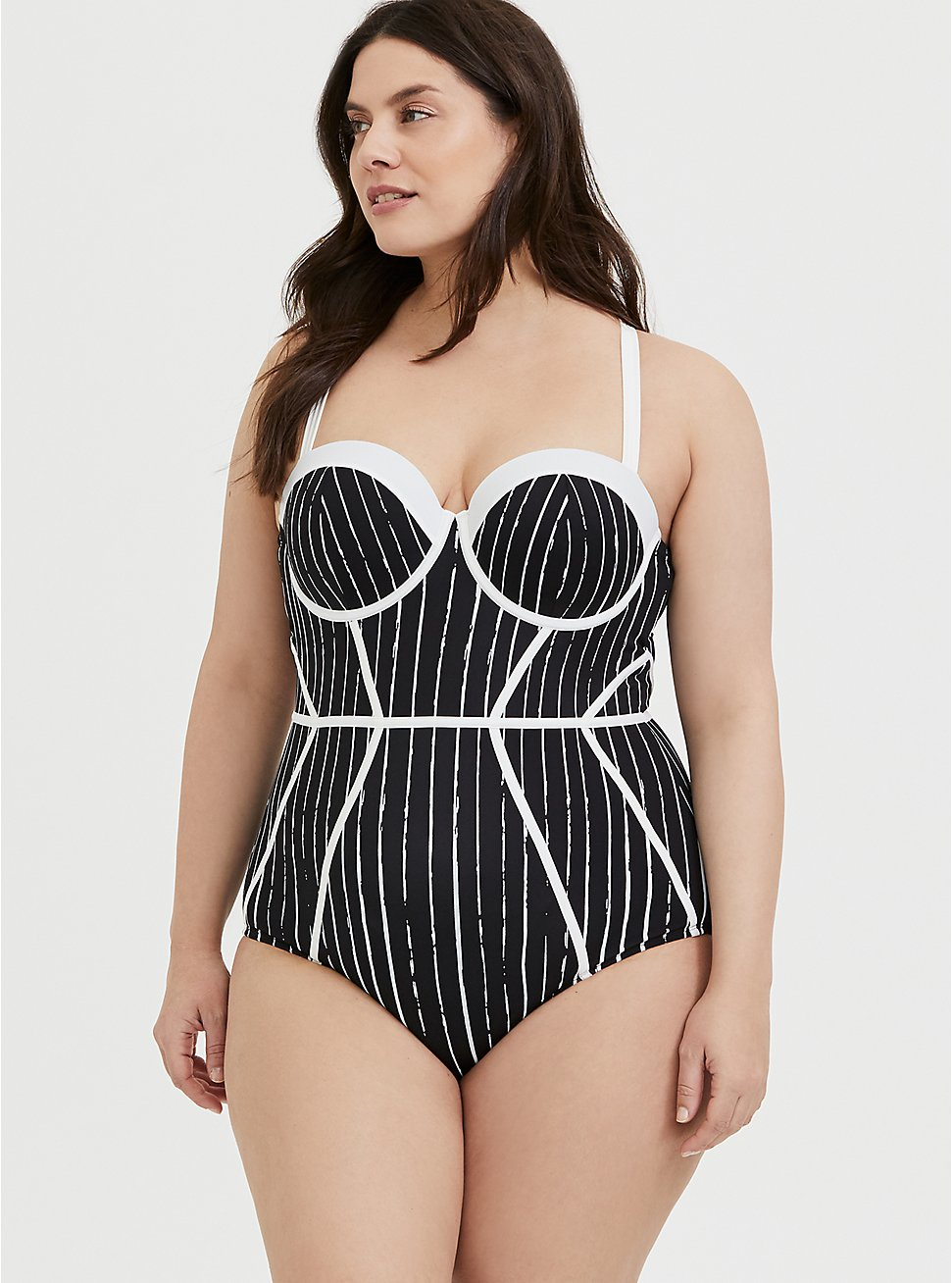 Disney The Nightmare Before Christmas Jack Skellington Underwire One-Piece Swimsuit, DEEP BLACK-BRIGHT WHITE STRIPE, hi-res
