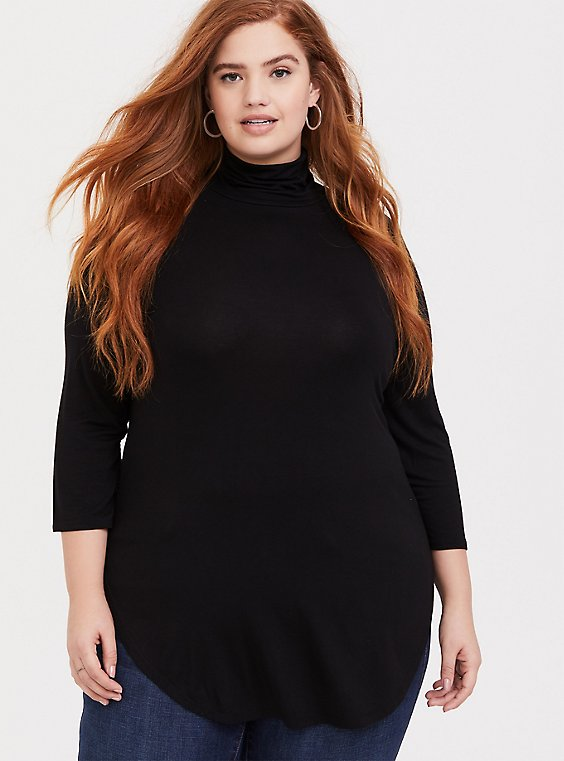Super Soft Black Turtleneck Favorite Tunic Tee, , hi-res