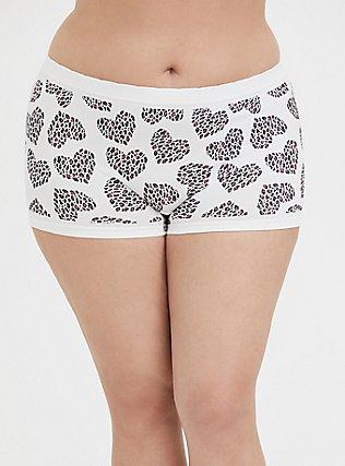 Plus Size White Leopard Heart Seamless Boy Short Panty, LEOPARD LOVE, hi-res
