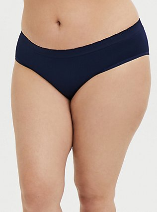 Navy Strawberry Bite Seamless Hipster Panty, PEACOAT, alternate
