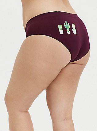Burgundy Cactus Seamless Hipster Panty, HIGHLAND THISTLE, alternate