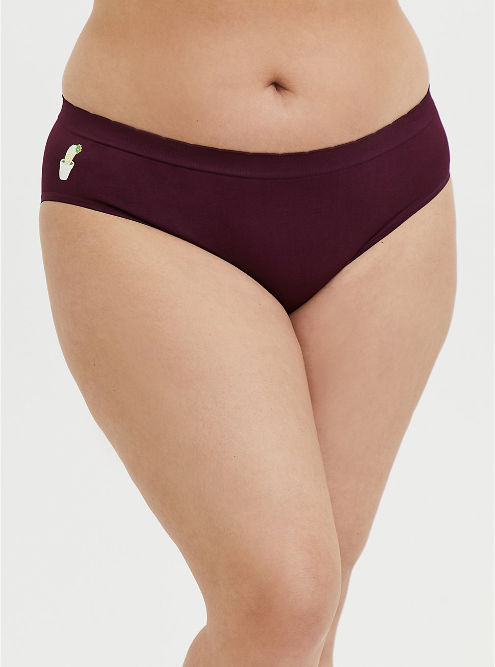 Plus Size Burgundy Cactus Seamless Hipster Panty, HIGHLAND THISTLE, hi-res
