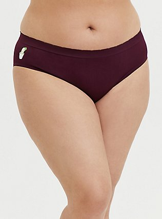 Burgundy Cactus Seamless Hipster Panty, HIGHLAND THISTLE, hi-res