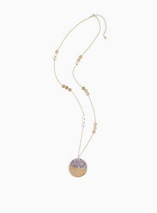 Gold-Tone & Half Resin Round Pendant Necklace, , hi-res