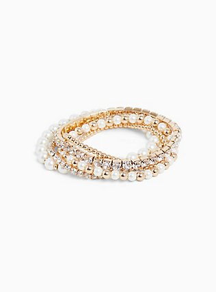 Plus Size Gold-Tone Pearl & Rhinestone Stretch Bracelet Set - Set of 5, , alternate