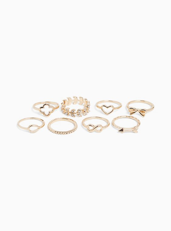 Plus Size Gold-Tone Infinity Stackable Ring Set - Set of 8, , hi-res