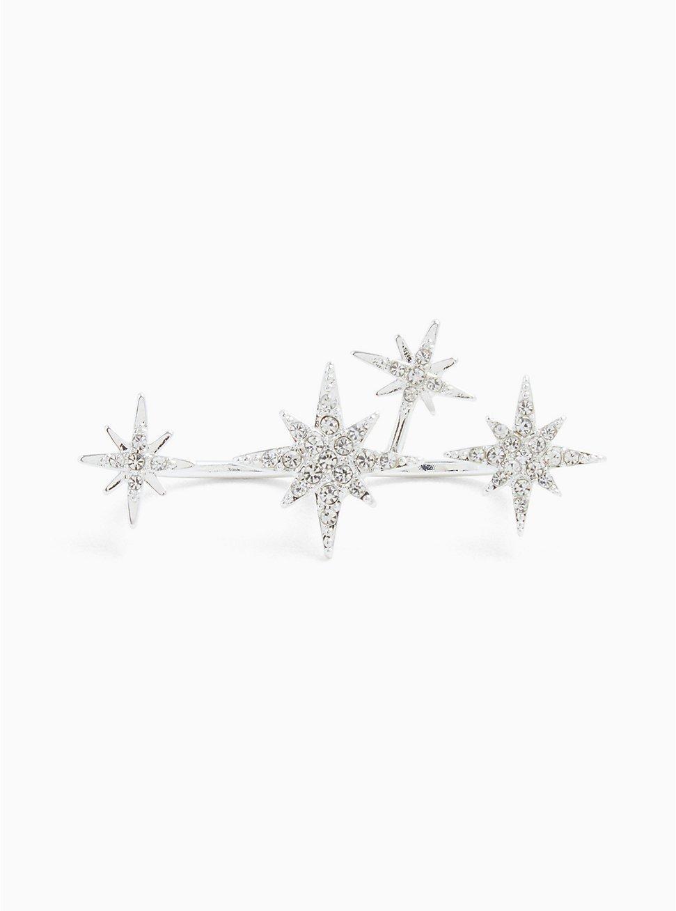 Plus Size Silver-Tone Rhinestone Star Double Ring, SILVER, hi-res