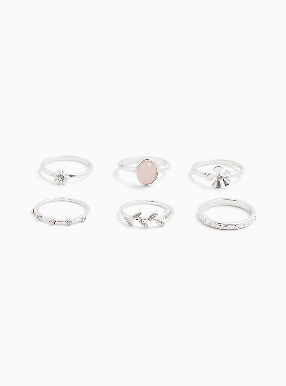 Plus Size Silver-Tone Floral Ring Set - Set of 6, , hi-res