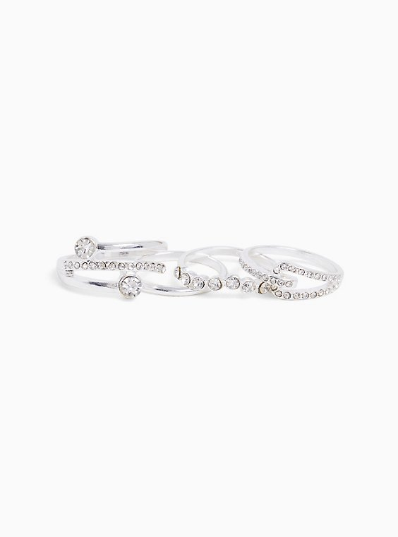 Silver-Tone Rhinestone Stackable Ring Set - Set of 4, , hi-res