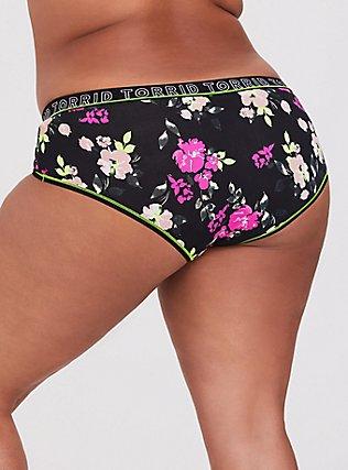 Plus Size Torrid Logo Black & Neon Floral Cotton Cheeky Panty, , alternate