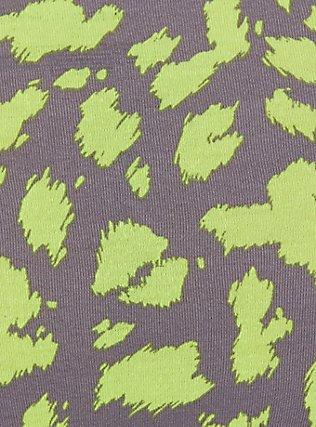 Plus Size Grey & Neon Yellow Leopard Cotton Cheeky Panty, , alternate