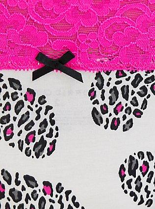 Plus Size White & Neon Pink Leopard Heart Wide Lace Cotton Thong Panty, LEOPARD LOVE, alternate