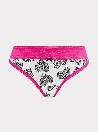 Plus Size White & Neon Pink Leopard Heart Wide Lace Cotton Thong Panty, LEOPARD LOVE, flat