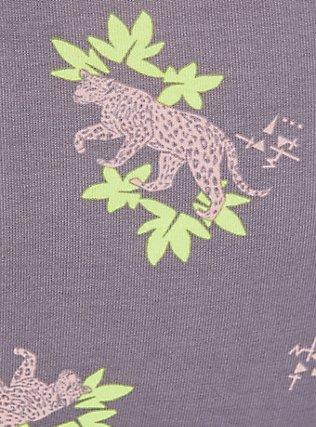 Plus Size Grey & Peach Leopard Floral Wide Lace Cotton Cheeky Panty, , alternate