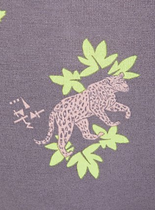 Plus Size Slate Grey & Peach Leopard Floral Wide Lace Cotton Hipster Panty, NEON LEOPARD, alternate