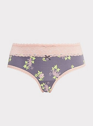 Plus Size Slate Grey & Peach Leopard Floral Wide Lace Cotton Hipster Panty, NEON LEOPARD, flat