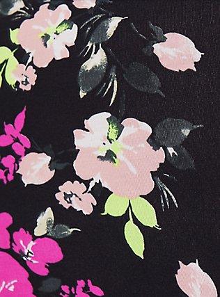 Plus Size Torrid Logo Black & Neon Floral Cotton Boyshort Panty, , alternate