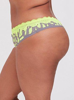 Plus Size Grey & Neon Yellow Leopard Cotton Thong Panty, , alternate
