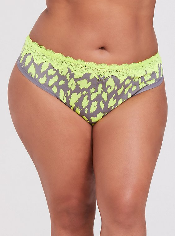 Plus Size Grey & Neon Yellow Leopard Cotton Thong Panty, , hi-res