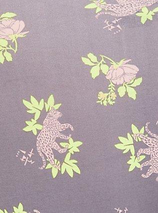 Plus Size Slate Grey & Peach Leopard Floral Wide Lace Cotton Brief Panty, NEON LEOPARD, alternate