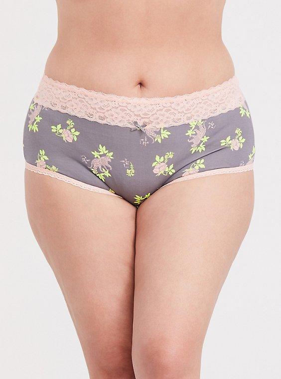Slate Grey & Peach Leopard Floral Wide Lace Cotton Brief Panty, , hi-res