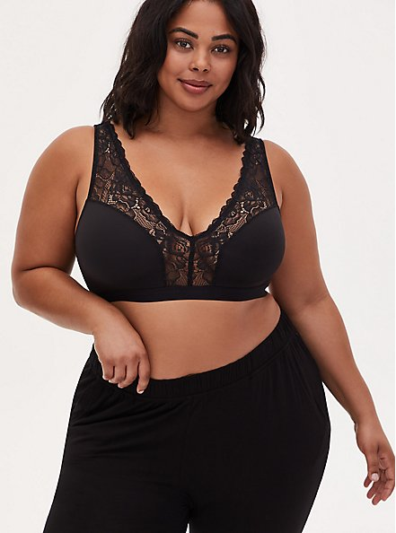 Black Microfiber & Lace Wireless Sleep Bralette, DEEP BLACK, hi-res