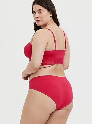 Plus Size Torrid Logo Fuchsia Pink Seamless Hipster Panty, HOT PINK, alternate
