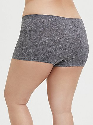 Heathered Grey Frenchie Seamless Boyshort Panty, HEATHER GREY, alternate