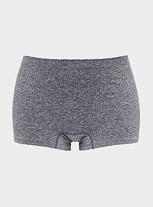 Heathered Grey Frenchie Seamless Boyshort Panty, HEATHER GREY, flat