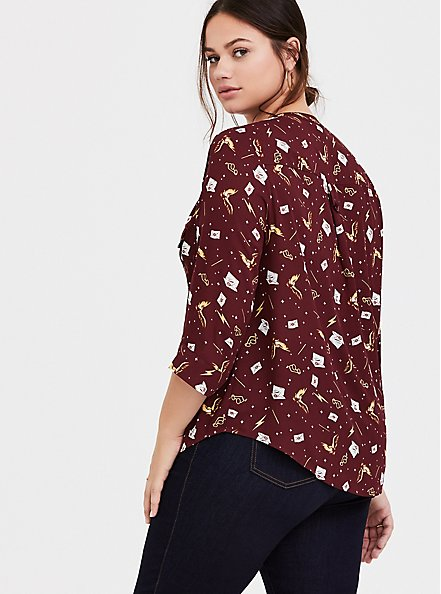Harry Potter Red Stars & Wands Georgette Harper Blouse, MULTI, alternate