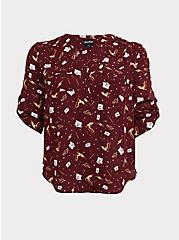 Harry Potter Red Stars & Wands Georgette Harper Blouse, MULTI, hi-res