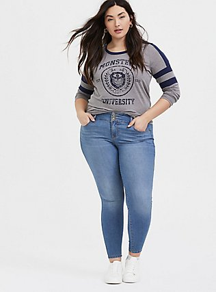 Plus Size Disney Pixar Monster's University Grey & Navy Varsity Top, LIGHT HEATHER GREY, alternate