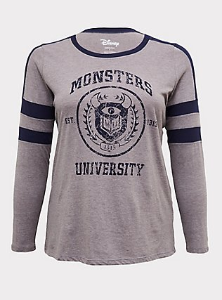 Plus Size Disney Pixar Monster's University Grey & Navy Varsity Top, LIGHT HEATHER GREY, flat