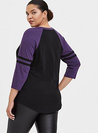 Plus Size Disney Villains Maleficent It's You Black & Purple Football Top , BLACK  PURPLE, alternate