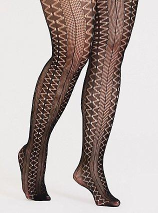 Black Crochet Tights, BLACK, hi-res