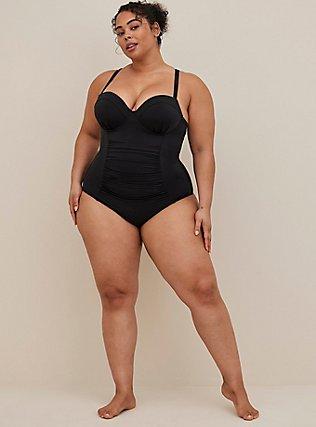Black Lattice Back Push-Up Underwire One-Piece Swimsuit , DEEP BLACK, alternate