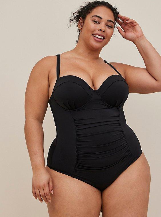 Plus Size Black Lattice Back Push-Up Underwire One-Piece Swimsuit , , hi-res