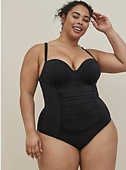 Black Lattice Back Push-Up Underwire One-Piece Swimsuit , DEEP BLACK, hi-res