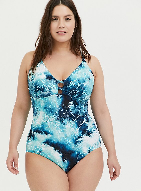 Plus Size Blue Ocean Lace Back Wireless One-Piece Swimsuit, , hi-res