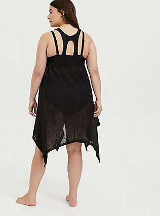 Black Jersey & Crochet Dress Swim Cover Up, DEEP BLACK, alternate