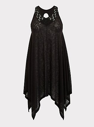 Plus Size Black Jersey & Crochet Dress Swim Cover Up, DEEP BLACK, flat
