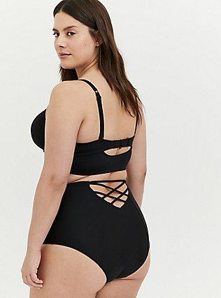 Black Lattice Push-Up Underwire Balconette Bikini Top, DEEP BLACK, alternate